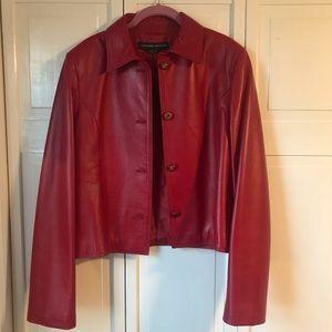 Adrienne Vittadini Red Short Leather Jacket, 10
